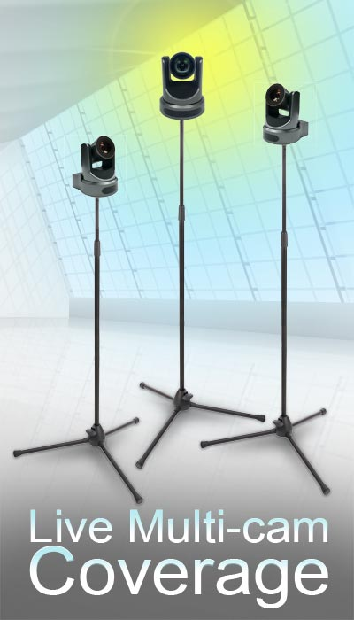 3 remote PTZ robotic cameras