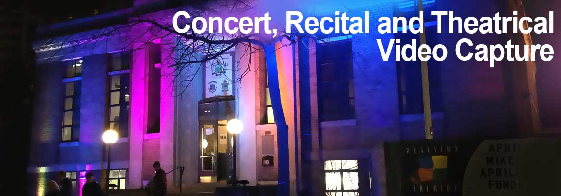 Soft seat entertainment venue featuring live switched multiple video camera coverage for music concerts, dance recitals, and theatrical performances.