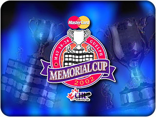 The 2002 Memorial Cup logo by Hawkeye Films for Kitchener, Waterloo, Cambridge, Toronto and all of Southern Ontario