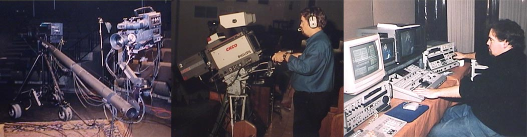 Betacm SP camera mounted to a Jib, TV studio camera and SVHS editing equipment