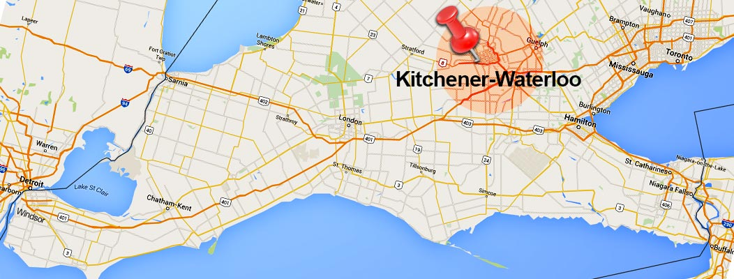 A map of southern Ontario showcasing the local service area of our video production and commercial photography services.