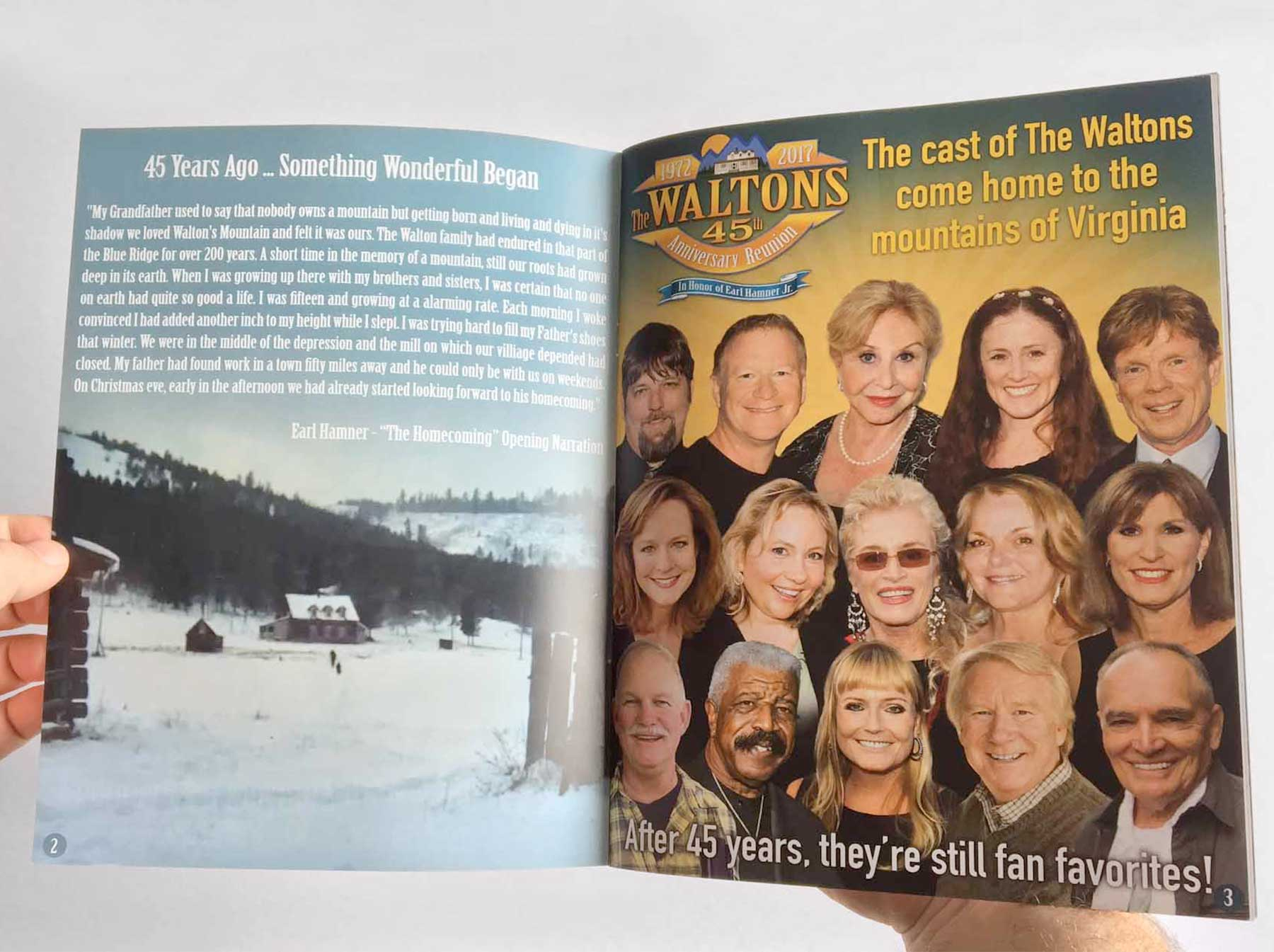 A souvenir program for The Waltons 45th Anniversary Reunion